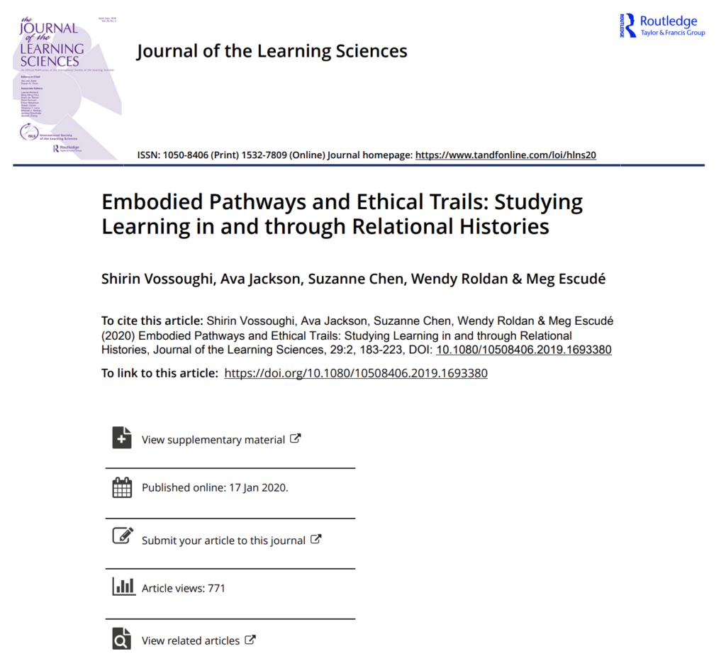 """Article """"Embodied Pathways and Ethical Trails: Studying Learning in and through Relational Histories"""""""