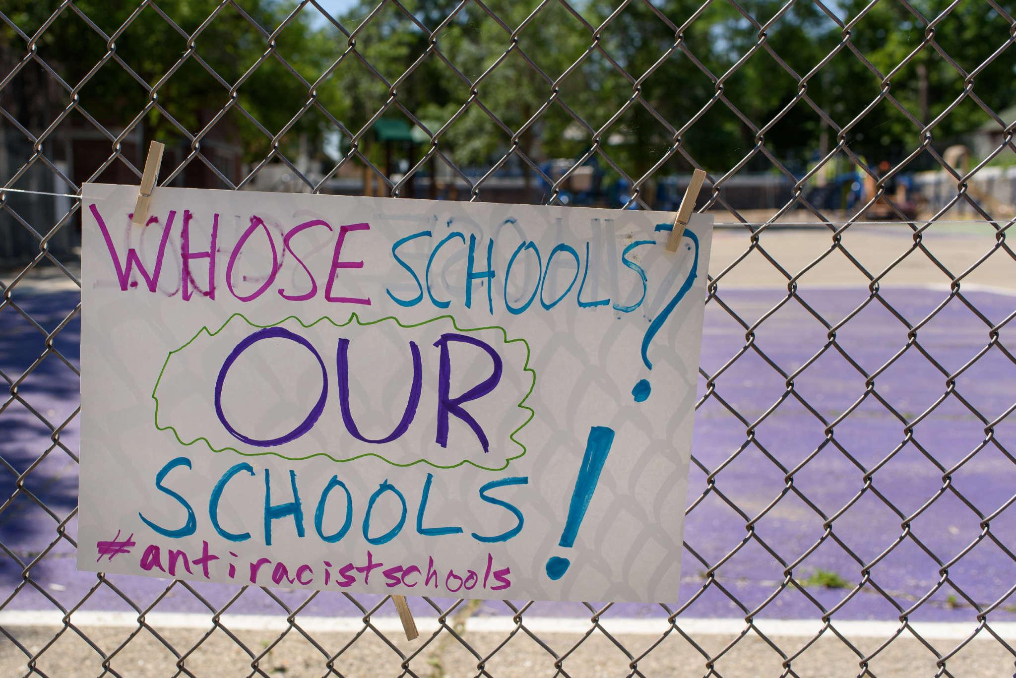 antiracist school sign